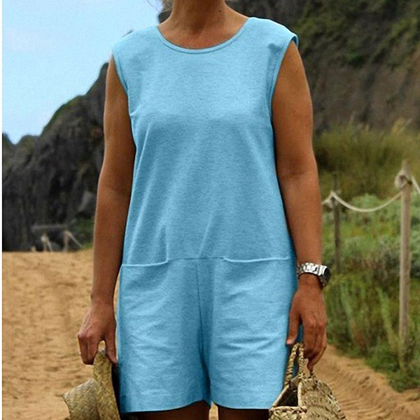 Casual Sleeveless Loose Pocket Jumpsuits