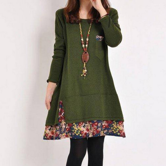 Casual Plus Size Long Sleeve Floral Stitching Dress