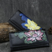 Load image into Gallery viewer, Retro Genuine Leather Lotus Embossed Portable Long Wallet