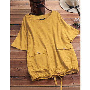 Casual Solid Color Pockets Loose Tops