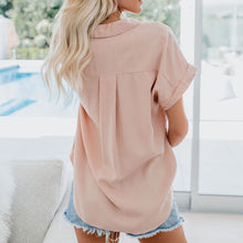Load image into Gallery viewer, Turndown Collar Pure Colour Pocket Short Sleeve Blouse