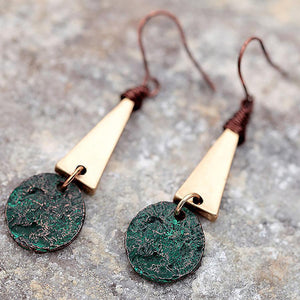 Women Antique Triangle Drop Earrings