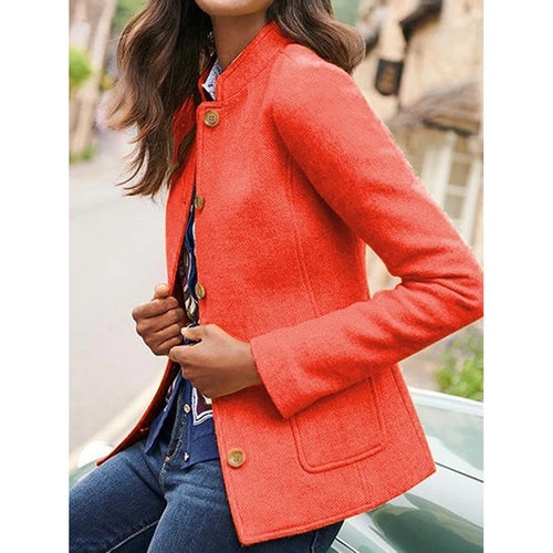 Solid Color Retro Pockets Blazer
