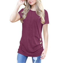 Load image into Gallery viewer, Women Summer Short Sleeve Classic Button T-shirts