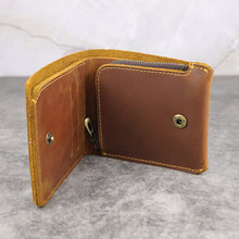 Load image into Gallery viewer, Retro Handmade Men Coin Pocket Short Zipper Travel Wallet