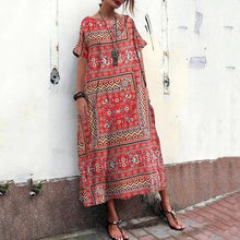 Load image into Gallery viewer, Cotton And Linen Printed Ethnic Style Short Sleeve Loose Vacation Dress