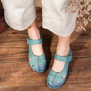 Retro Casual Hook and Loop Soft Sole Flats Sandals