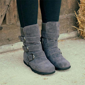 Cushioned Buckled Low Heel Knitted Fabric Zipper Slip Boots