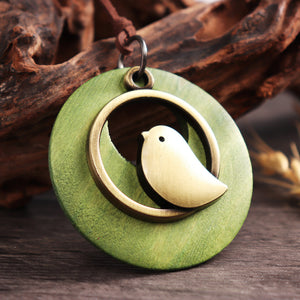 Vintage Alloy Bird Round Wood Plate Pendant Long Necklaces