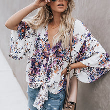 Load image into Gallery viewer, Printed Floral Large Size Strap Fashion Chiffon Top