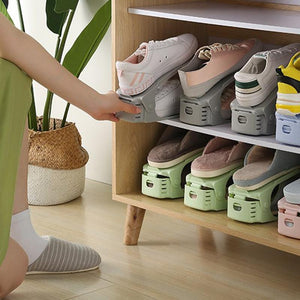 Adjustable Storage Rack Thickened Simple Plastic Double Shoe Rack Innovative Space-Saving Storage