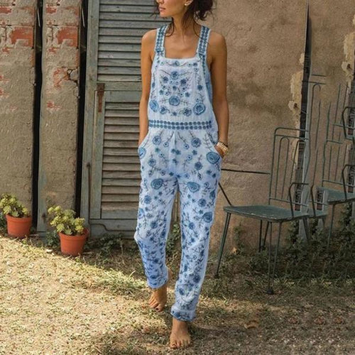 Vintage Floral Printed Sleeveless Casual Jumpsuits