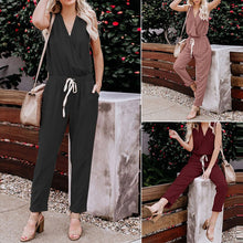 Load image into Gallery viewer, Women V Neck Solid Color Jumpsuits Fashion Sleeveless Rompers