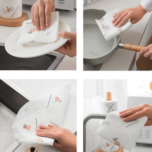 Kitchen Disposable Paper Towel Napkin Oil Washing Dish Cloth with Rack