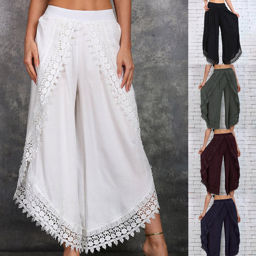 Women Lace-Trim Rubber Waist Pants