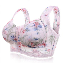 Load image into Gallery viewer, Zip Front Massage Padding Print Full Busted Lace-trim Bras