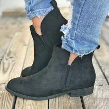 Load image into Gallery viewer, Fashion Artificial Suede Low Heel Ankle Boots