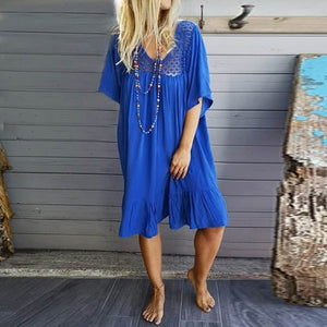 V Neck Casual Loose Half Sleeve Dresses