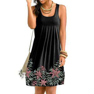Summer Floral Print Sleeveless Pleated Dress