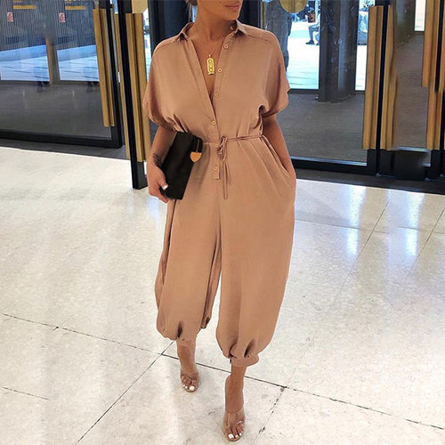 Fashion V-Neck Semi-Sleeve Solid Jumpsuits