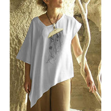 Load image into Gallery viewer, Irregular V Neck Short Sleeve Solid Shirts & Tops