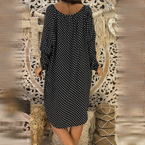 Large Size V Neck Lace-up Wave Point Printed Dress