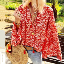 Load image into Gallery viewer, Bohemian Printed V Neck Loose Blouse