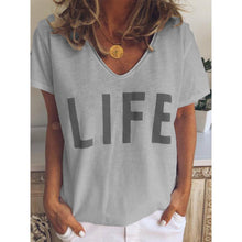 Load image into Gallery viewer, Casual V Neck Letter Print Short Sleeve T-Shirts