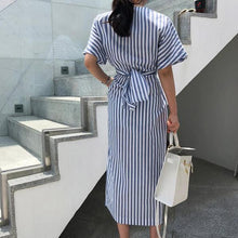 Load image into Gallery viewer, Elegant Stripe Front Split Dress
