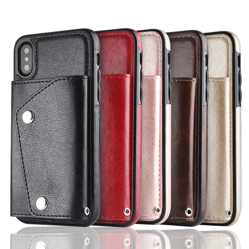 Women Wallet ID Card Slot Soft Cash Phone Cases Magnetic Cover Strap Deluxe