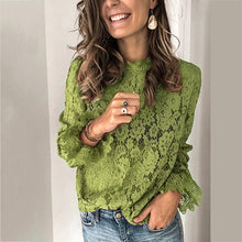 Load image into Gallery viewer, Autumn Lace Long Sleeve Women's Fashion Blouses