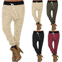 Load image into Gallery viewer, Women Fashion Button Drawstring Elastic Waist Harem Pants