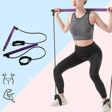 Load image into Gallery viewer, Pilates Bar Stick with Resistance Band for Portable Gym Home Fitness