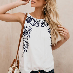 Fashion Sleeveless Embroidered Tank Top