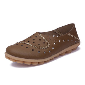 Breathable Non-Slip Soft Slip-on Hollow-out Loafers Flat Shoes