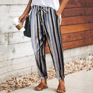 Casual Linen Colorful Striped Elastic Waist Slim Pants