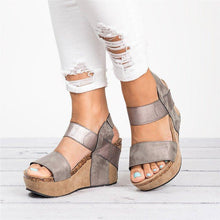 Load image into Gallery viewer, Large Size Slip On Double Band Wedges Sandals