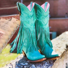 Load image into Gallery viewer, Plus Size Tassel Vintage Leather Chunky Heel Cowboy Boots