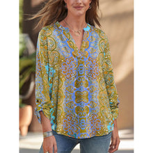 Load image into Gallery viewer, Bohemian Printed V-Neck Long Sleeve Shirt