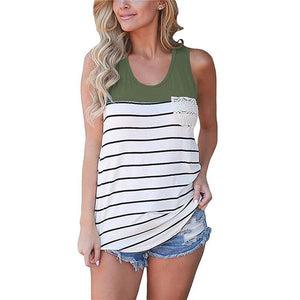 Women O Neck Sleeveless Stripe Tank Tops