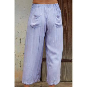 Casual Cotton Blend Solid Color Pants