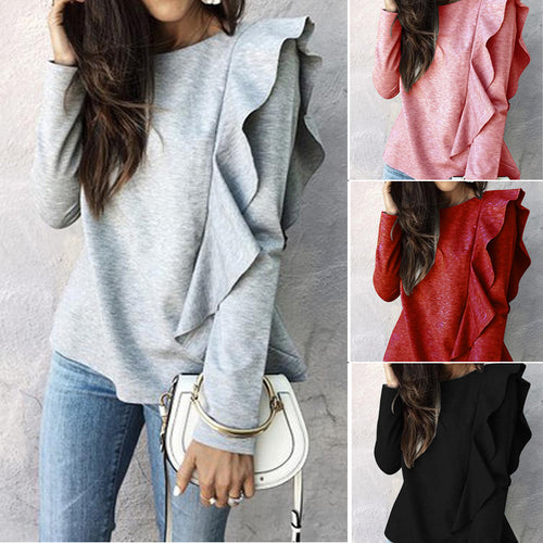 Ruffled Long Sleeved Solid Color Sweater
