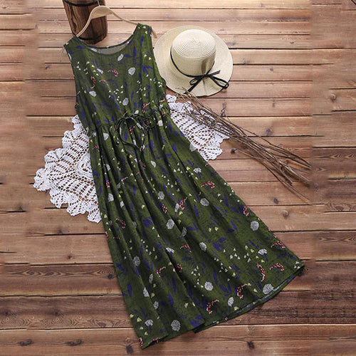Vintage Floral Printed Drawstring Causal Maxi Dress