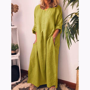 Linen Solid Color Loose Dress