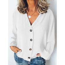Load image into Gallery viewer, Plus Size Casual Buttoned Solid Long Sleeve Blouses