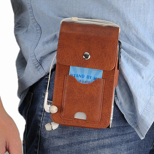 Vintage Dual Pouches Waist Belt Mobile Phone Bags with Card Holder