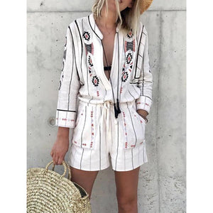 Floral Printed Casual Long Sleeves Stripes Jumpsuit Romper