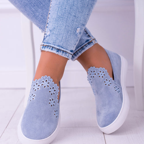 Openwork Lace Flat Solid Slip-on Shoes