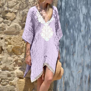 V-neck Lace Loose Mid-Sleeve Mini Dress