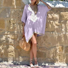Load image into Gallery viewer, V-neck Lace Loose Mid-Sleeve Mini Dress